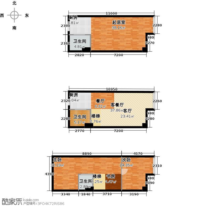 金爵万象LOFT H2户型 使用面积44.37平方米 开间区间4.6米 44.37平米户型