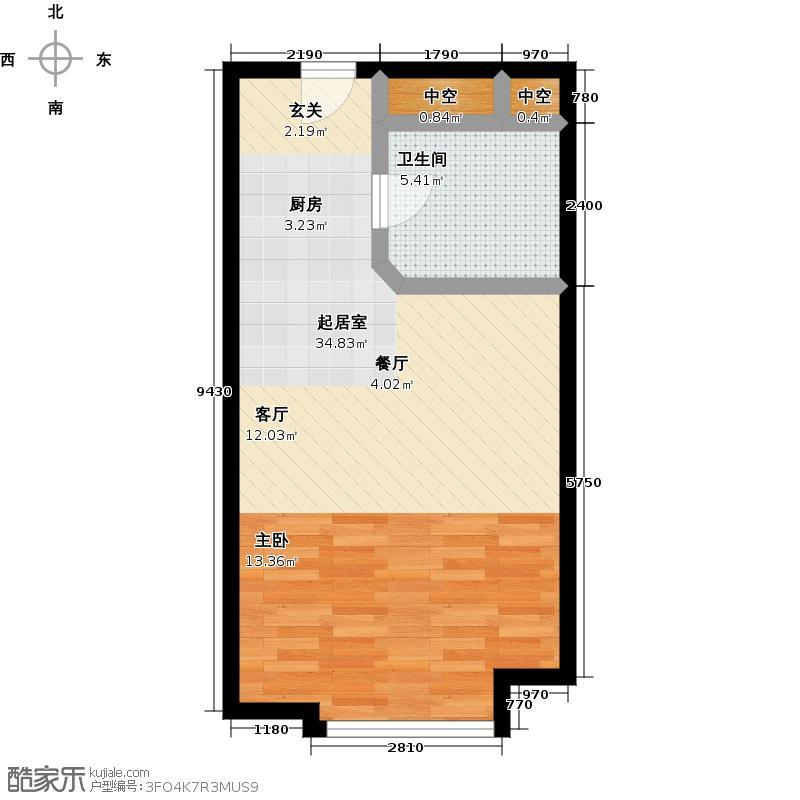 鲁商・盛景广场47.00㎡公寓B3户型1室1卫