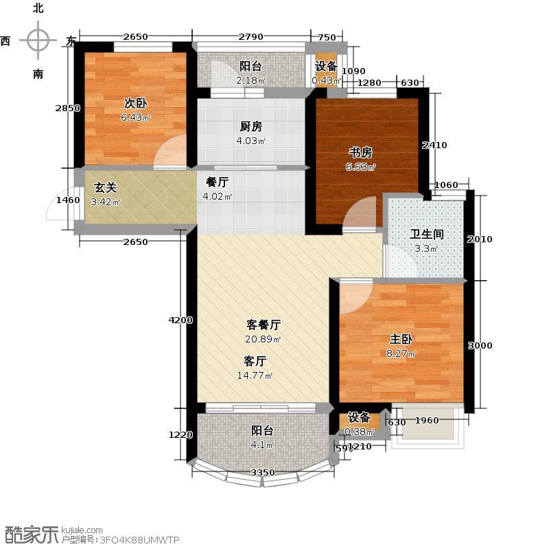 碧桂园澜江华府J605-C户型3室2厅1卫