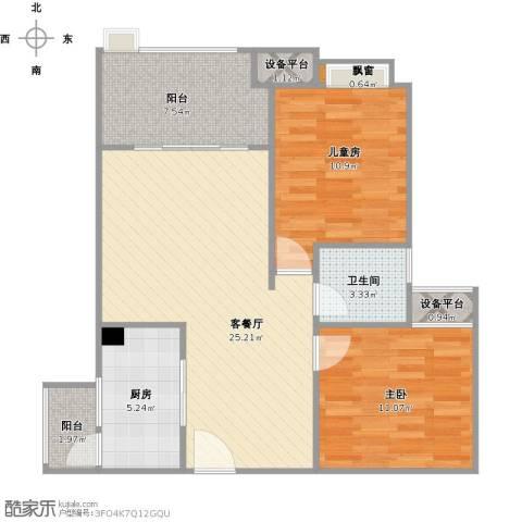 神州南都2室1厅1卫1厨93.00㎡户型图