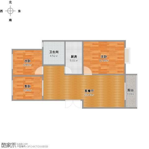富城铭邸3室1厅1卫1厨84.00㎡户型图