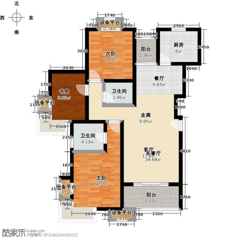 梅川二街坊南块110.00㎡房型: 三房; 面积段: 110 -120 平方米;户型