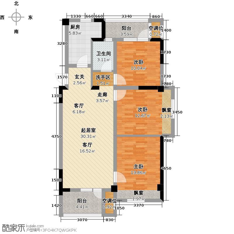 汉阳满庭春MOM∧104.00㎡B户型3室2厅1卫
