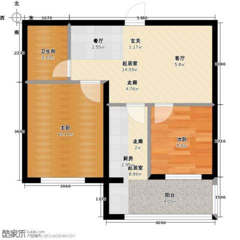 陵西雅居2室0厅1卫0厨60.00㎡户型图