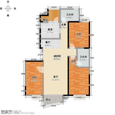 蚌埠百乐门3室0厅2卫1厨126.00㎡户型图
