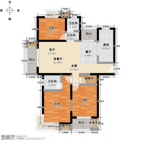 中环花苑一期3室1厅2卫1厨100.00㎡户型图