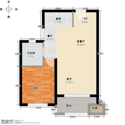 优山美地1室1厅1卫0厨62.00㎡户型图