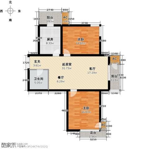 君悦府2室0厅1卫1厨101.00㎡户型图