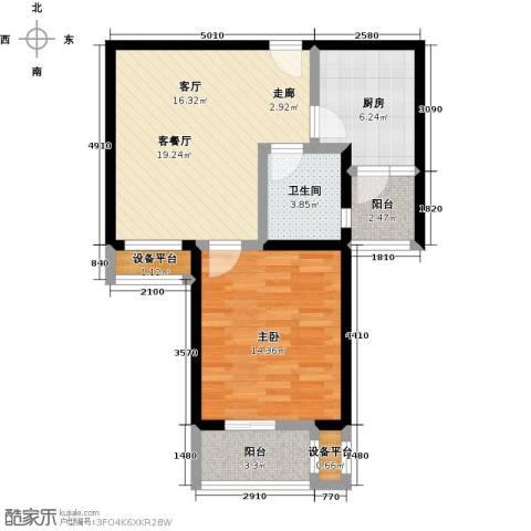 中环花苑一期1室1厅1卫1厨60.00㎡户型图
