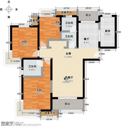 中环花苑一期3室1厅3卫1厨120.00㎡户型图