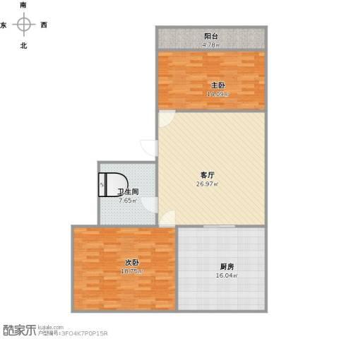鑫馨佳园2室1厅1卫1厨117.00㎡户型图