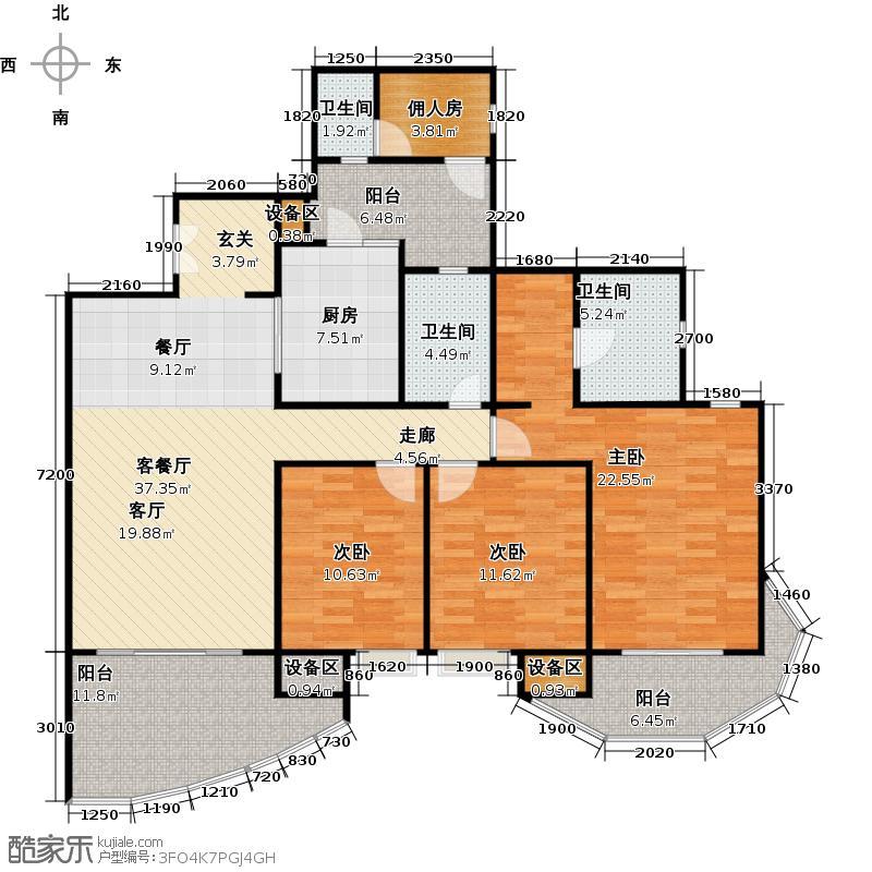 龙湖世纪峰景B户型3室2厅2卫