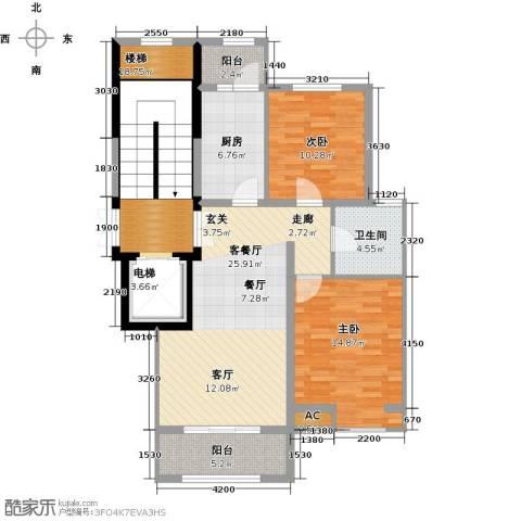 首开国风润城2室1厅1卫1厨97.00㎡户型图