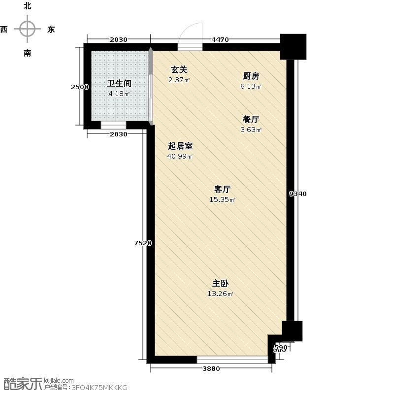 步阳国际64.33㎡U2户型 一室一厅一卫户型1室1厅1卫