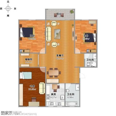 中星苑3室1厅2卫1厨180.00㎡户型图