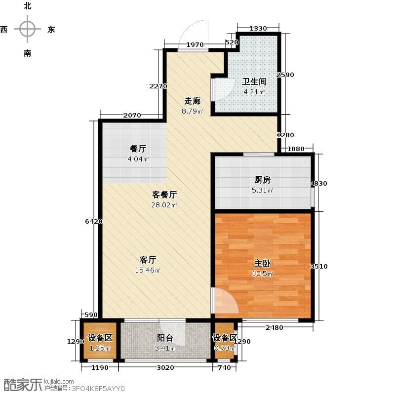 京汉铂寓(门头沟)70.49㎡2-Bb户型 一室二厅一卫户型1室2厅1卫