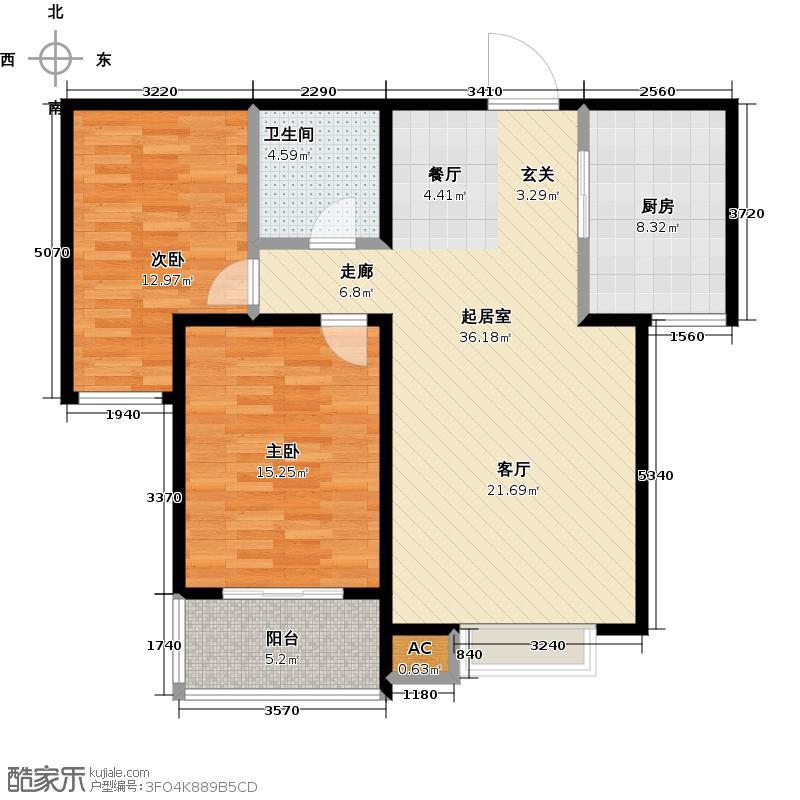 东方茗苑93.00㎡6号楼G户型两室两厅一卫户型LL