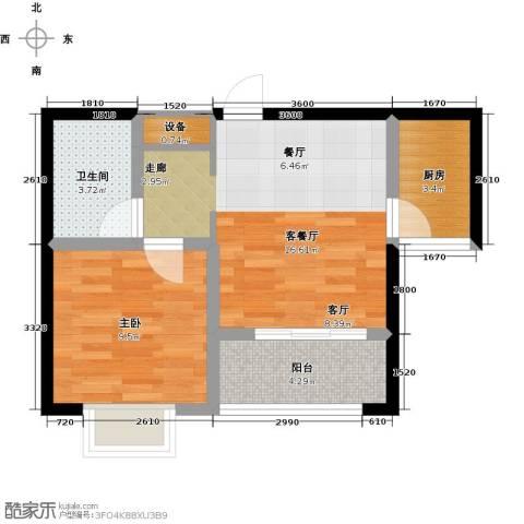 知言・棋子湾一号1室1厅1卫1厨48.00㎡户型图
