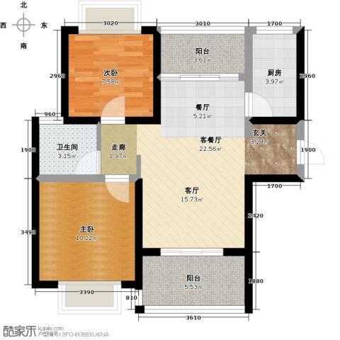 知言・棋子湾一号2室1厅1卫1厨74.00㎡户型图