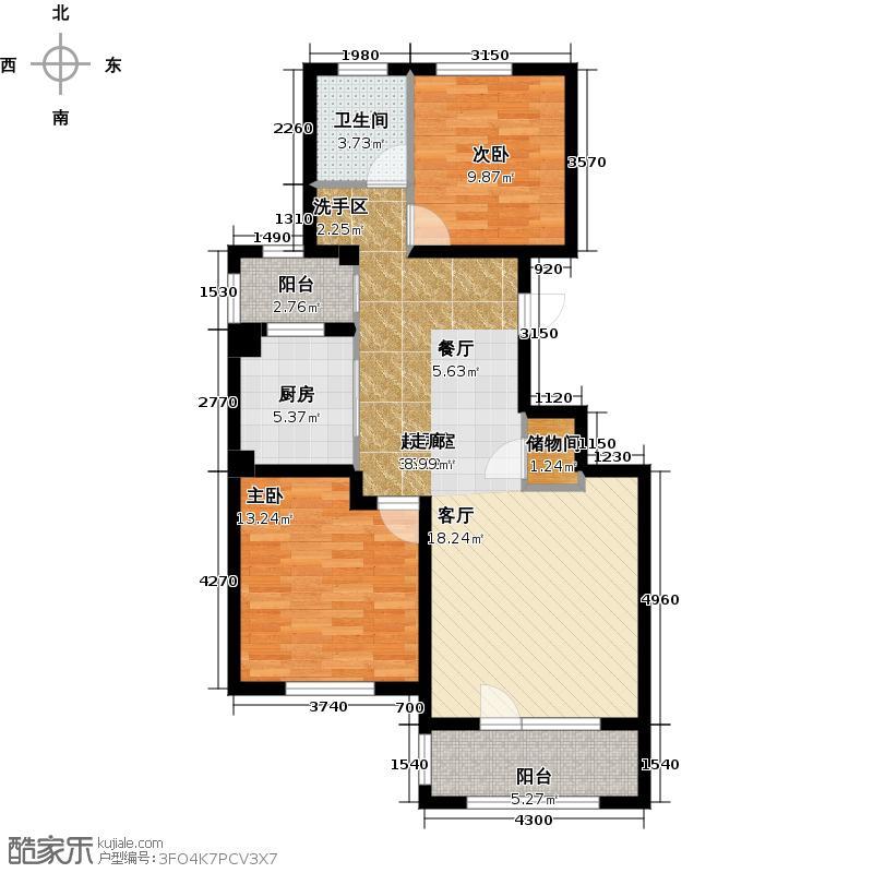 朗诗保利麓院88.00㎡6#20户型2室2厅1卫