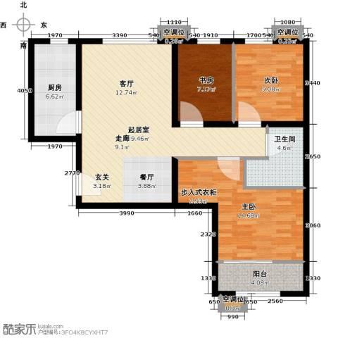 首创・悦都汇3室0厅1卫1厨88.00㎡户型图