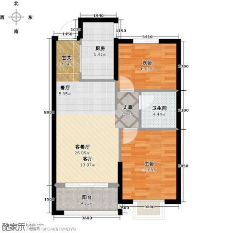 恒大御景湾2室1厅1卫1厨83.00㎡户型图