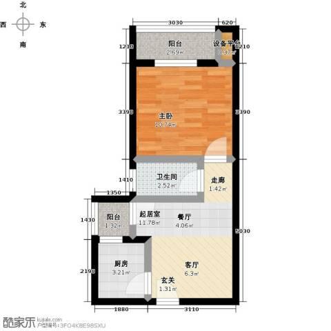 神州华府二期1室0厅1卫1厨39.00㎡户型图