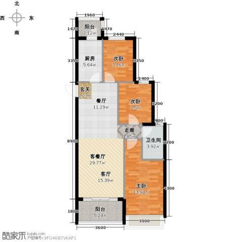 恒大御景湾3室1厅1卫1厨108.00㎡户型图