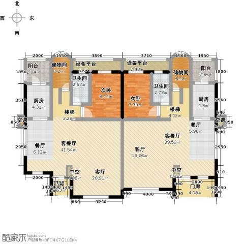 咸宁碧桂园2室2厅2卫2厨185.00㎡户型图