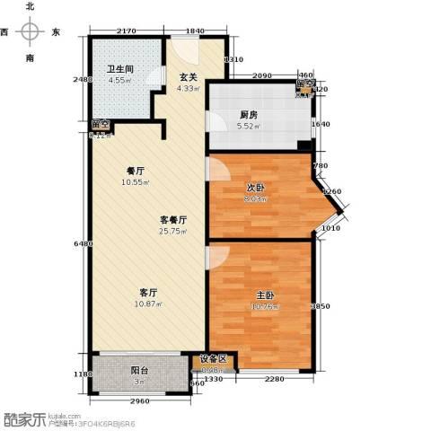 华润公元九里-九里公馆2室1厅1卫1厨101.00㎡户型图