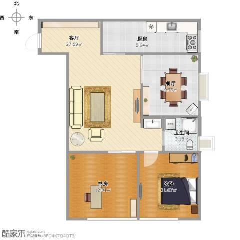 万象上东2室2厅1卫1厨98.00㎡户型图