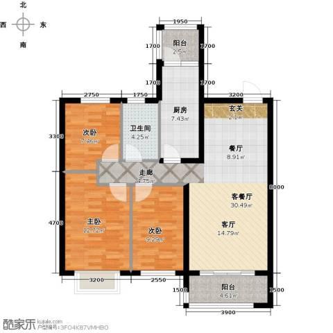 恒大御景湾3室1厅1卫1厨118.00㎡户型图