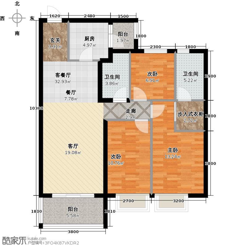 恒大御景湾户型3室1厅2卫1厨
