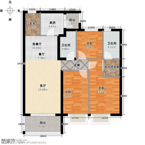 恒大御景湾3室1厅2卫1厨122.00㎡户型图