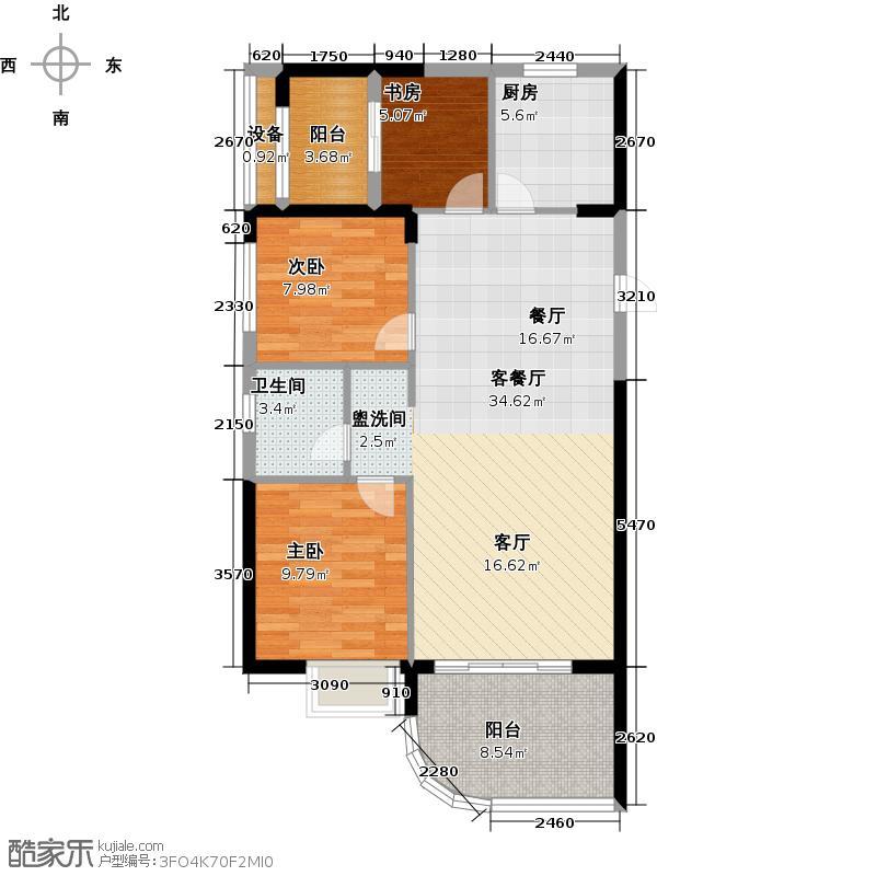 同人・湘海城90.02㎡I型户型3室2厅1卫