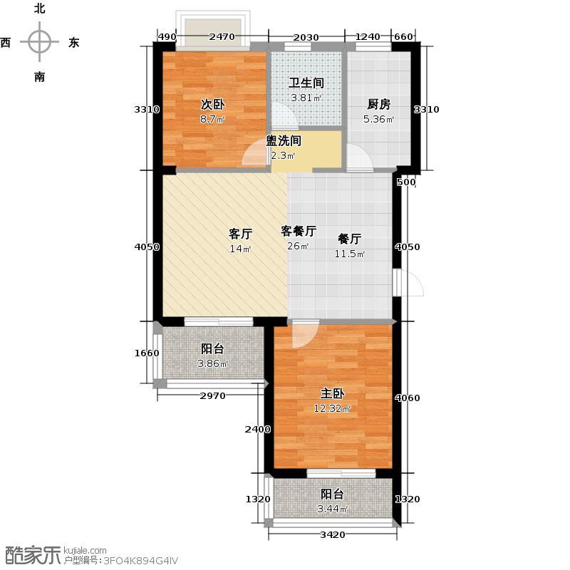 同人・湘海城户型2室1厅1卫1厨