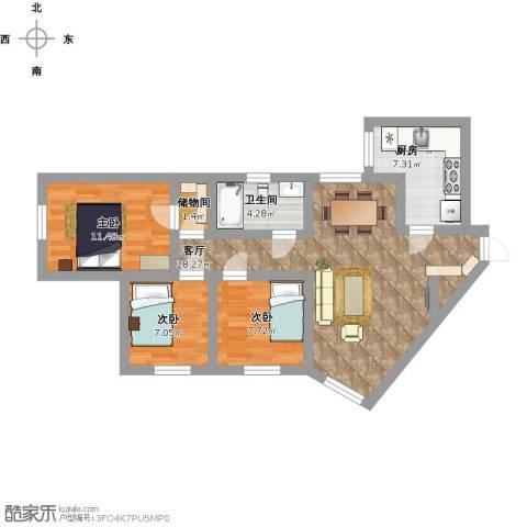 珠光花园3室1厅1卫1厨103.00㎡户型图