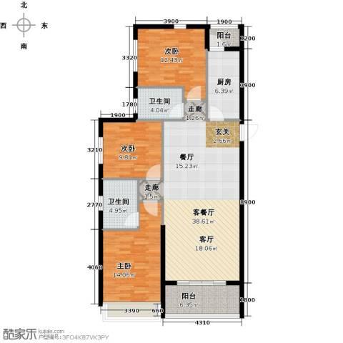 恒大御景湾3室1厅2卫1厨137.00㎡户型图