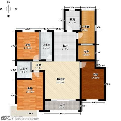 衡水水榭花都3室0厅2卫1厨131.00㎡户型图