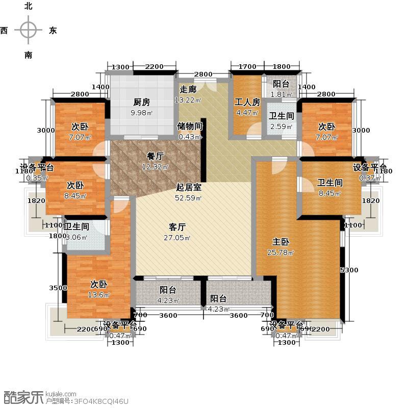 三正瑞士半山I户型 五房两厅四卫 建筑面积190平米户型