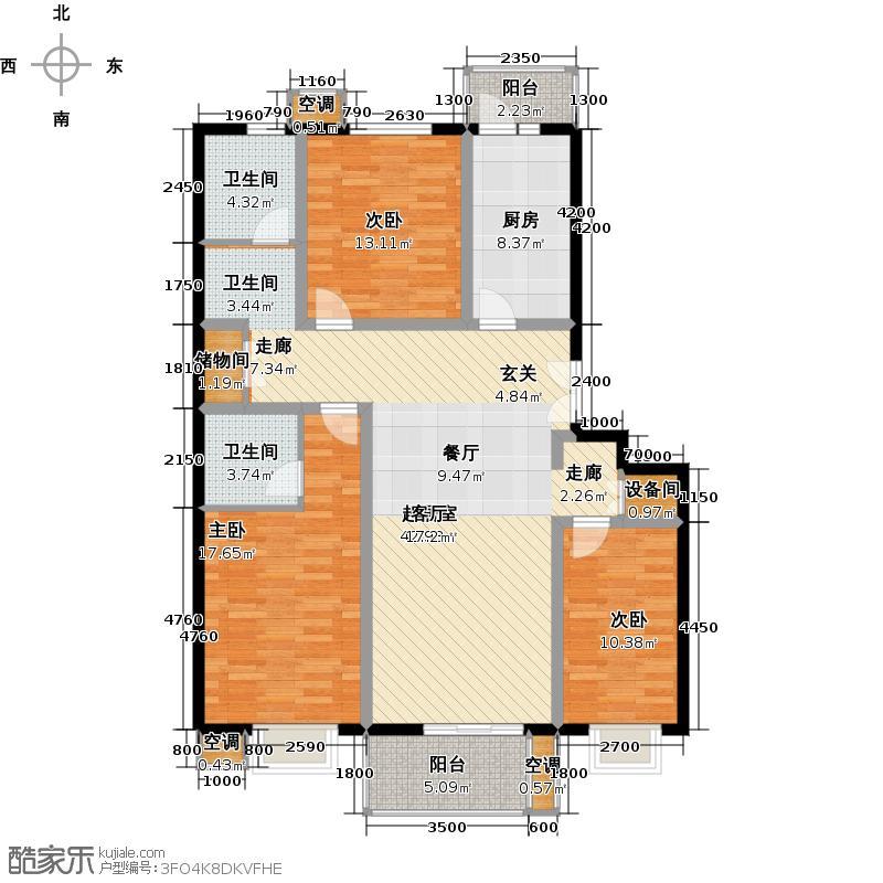 花涧溪142.30㎡6号楼C三室二厅二卫户型