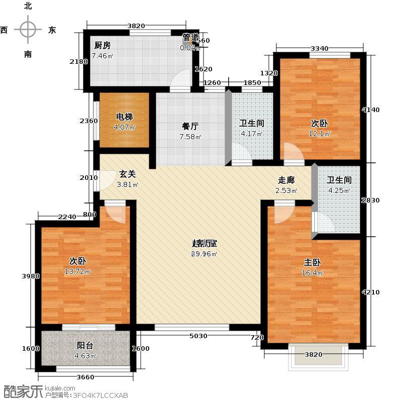 泰达水榭花都3室2厅2卫 124.55㎡户型3室2厅2卫