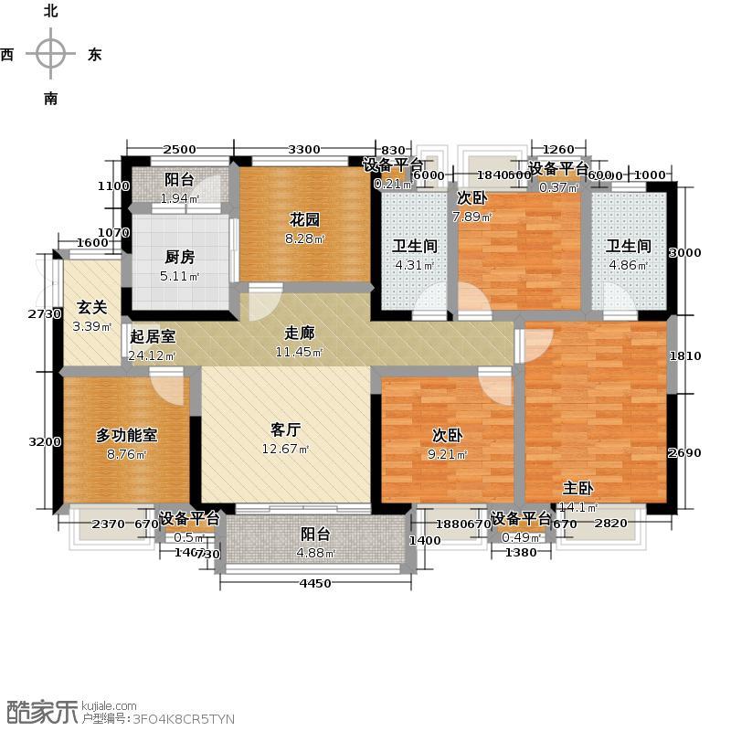 三正瑞士半山F户型 四房两厅两卫 建筑面积123平米户型