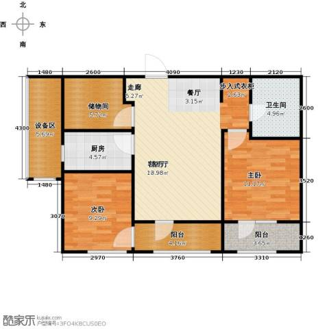 枫丹壹�2室1厅1卫1厨100.00㎡户型图