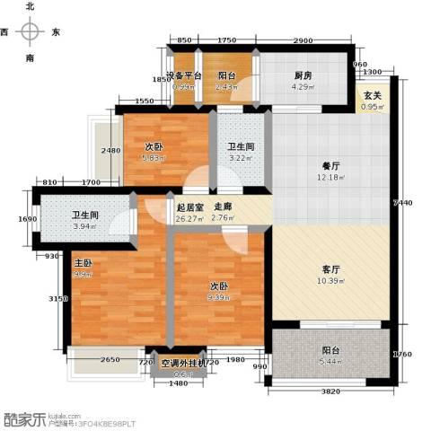 神州华府二期3室0厅2卫1厨89.00㎡户型图