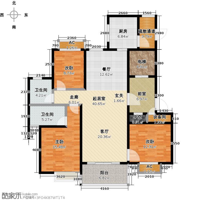 恒大海上半岛134.00㎡三居室建面约134平米户型LL