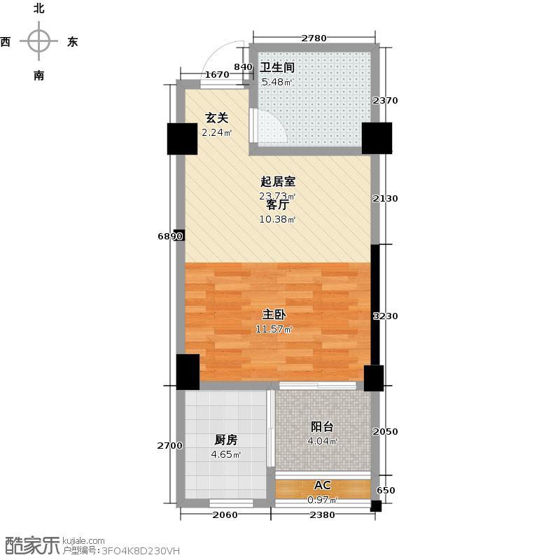 东晟泰和园45.00㎡项目D2户型1室1厅1卫LL