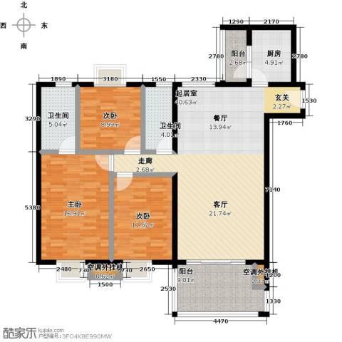 神州华府二期3室0厅2卫1厨122.00㎡户型图