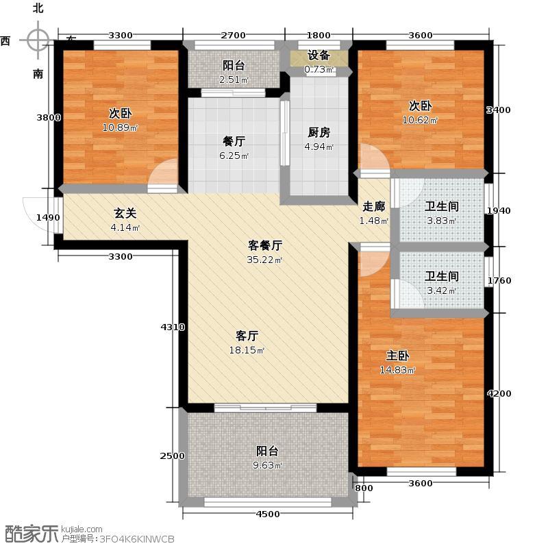 中特香堤雅郡户型3室1厅2卫1厨
