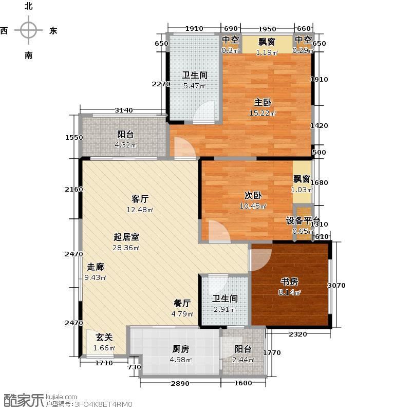 渝高幸福九里101.96㎡B2/B7三代适用型 两室两厅双卫+幸福成长空间套内约80.27㎡户型3室2厅2卫